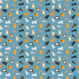 Vector illustration of different dogs breed seamless pattern. Royalty Free Stock Images