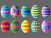 Set of colorful easter eggs royalty free illustration