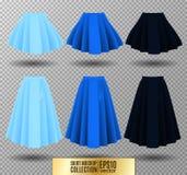 Vector illustration of different model skirt on transparent background. Skirt mockup. Stock Image