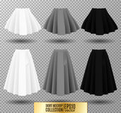 Vector illustration of different model skirt on transparent background. Skirt mockup. Royalty Free Stock Photo
