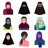 Vector illustration of different muslim arab women characters in hijab icons set. Islamic saudi arabic ethnic women in stock illustration