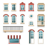 Different opened and closed windows and doors. Vector illustration of different opened and closed windows and doors elements isolated on white Royalty Free Stock Images