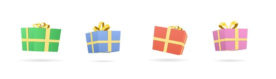 Vector illustration of different colorful presents and gifts boxes. Vector illustration of different presents and gifts boxes. Colorful packaging with ribbon bow Royalty Free Stock Photo