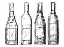 Red and white wine and champaign bottles set. Vector illustration of a different red and white wine and champaign bottles set. Vintage engraving style Stock Images