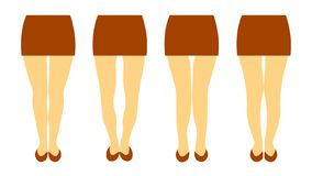 Vector illustration with different shapes of women legs stock illustration