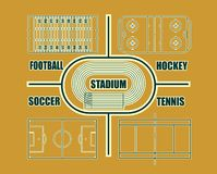 Vector illustration of different sport fields Royalty Free Stock Photography