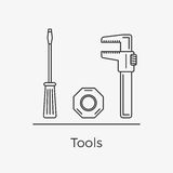 Vector illustration of different tools. Thin line icons. Screwdriver, nut and wrench vector illustration