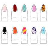 Vector illustration, different types of nail polish on the nails Royalty Free Stock Photography