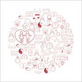 Vector illustration with different Valentines Day elements. Vector illustration with different Valentines Day and love elements.Vector line icons. idea Stock Photos