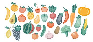 Vector illustration of different vegetables in the flat style.vector illustration stock illustration