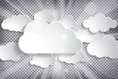 Vector illustration of different white paper clouds set with sun. Rays on a chequered background Stock Images