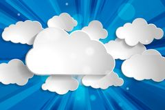Vector illustration of different white paper clouds set with sun. Rays on a blue sky background Stock Images