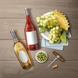 Wine still life. Vector illustration of different wine bottles with snack and handle corkscrew on wooden table, top view Stock Photography