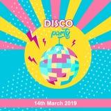 Disco ball icon. Disco party poster stock illustration