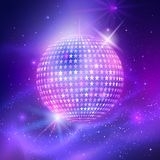 Disco ball with star shapes. Vector illustration of disco ball with star shapes on ultraviolet outer space background stock illustration