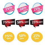 Vector illustration of discount labels stock illustration