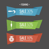 Vector illustration for discounts on fishing accessories Stock Image