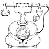 Vector illustration of disk desktop phone executed in a retro style Stock Photography