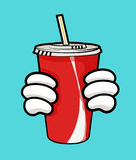 vector illustration of disposable red soda cup with straw and holding hands. Vector illustration of disposable red soda cup for beverages with straw and Royalty Free Stock Photos