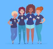 Vector Illustration of a Diverse Group of Women with team lettering on their t-shirts. Royalty Free Stock Image