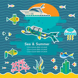 Vector illustration diving Stock Images