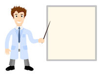 Vector Illustration - doctor in medical gown shows pointer on the poster Royalty Free Stock Photography