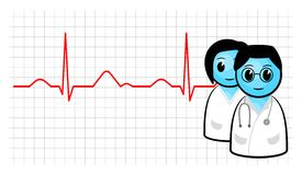 Doctor and ecg curve. Vector illustration of a doctor and nurse with ecg curve stock illustration