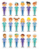 Vector illustration of a doctor in uniform. Doctors and nurses and medical staffs flat design icon set. Medical team. Group of hospital workers vector stock illustration