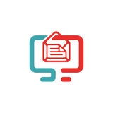 Vector illustration of document file mail icon. File icon on pc laptop. Open document in message icon. File icom on red and blue pc screen royalty free illustration