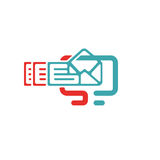 Vector illustration of document file mail icon. File icon on pc laptop. Open document in message icon. File icom on red and blue pc screen Stock Photography