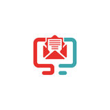 Vector illustration of document file mail icon. File icon on pc laptop. Open document in message icon. File icom on red and blue pc screen Stock Photo