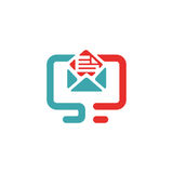Vector illustration of document file mail icon. File icon on pc laptop. Open document in message icon. File icom on red and blue pc screen Stock Images
