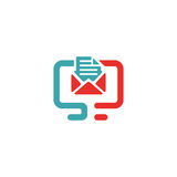 Vector illustration of document file mail icon. File icon on pc laptop. Open document in message icon. File icon on red and blue pc screen Stock Photos