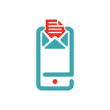 Vector illustration of document file mail icon. File icon on smartphone screen. Open document in message icon. File icon on red and blue mobile screen Royalty Free Stock Images