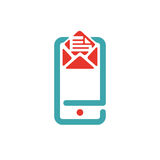 Vector illustration of document file mail icon. File icon on smartphone screen. Open document in message icon. File icon on red and blue mobile screen Stock Images