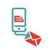 Vector illustration of document file mail icon. File icon on smartphone screen. Open document in message icon. File icon on red and blue mobile screen stock illustration