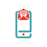 Vector illustration of document file mail icon. File icon on smartphone screen. Open document in message icon. File icon on red and blue mobile screen royalty free illustration