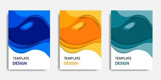 Vector illustration, document mock up template, easy color adjustment. Paper cut topographic style in colorful wave layering. Suitable for book cover, annual vector illustration