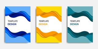 Vector illustration, document mock up template, easy color adjustment. Paper cut topographic style in colorful wave layering. Suitable for book cover, annual stock illustration