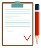 Vector illustration of a document with pencil Stock Image