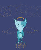 Vector illustration of dog angel with wings, flowers, clouds Stock Photos