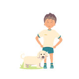 Vector illustration of dog and boy on white background. Vector illustration of dog and boy on white Royalty Free Stock Photos