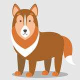 Vector illustration of a dog. Children`s stylized picture. Can be used for the design of educational cards, cards, invitations, illustrations for books Stock Image