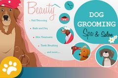 Dog Grooming Salon Poster Illustration Royalty Free Stock Photography