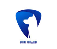 Vector illustration of dog guard with doggy head in negative blue space. Isolated on white background royalty free illustration