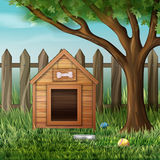Vector dog house. Vector illustration of dog house in environment with tree, fence, toys and bowl Stock Photos