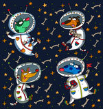 Vector illustration of a dogs in space. Vector illustration of a dogs astronauts in spacesuits flying in space Stock Image