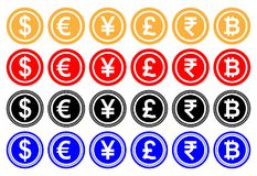 Vector illustration Dollar, euro, yuan or yen, pound sterling, Indian rupee, bitcoin. Cryptocurrency. Casino game. vector illustration