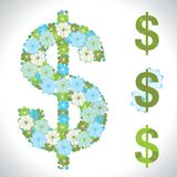 Vector illustration of the dollar. Flower texture Royalty Free Stock Photography