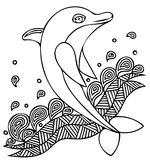 Vector illustration of dolphin jumping on the wave. Cartoon dolphin Stock Image